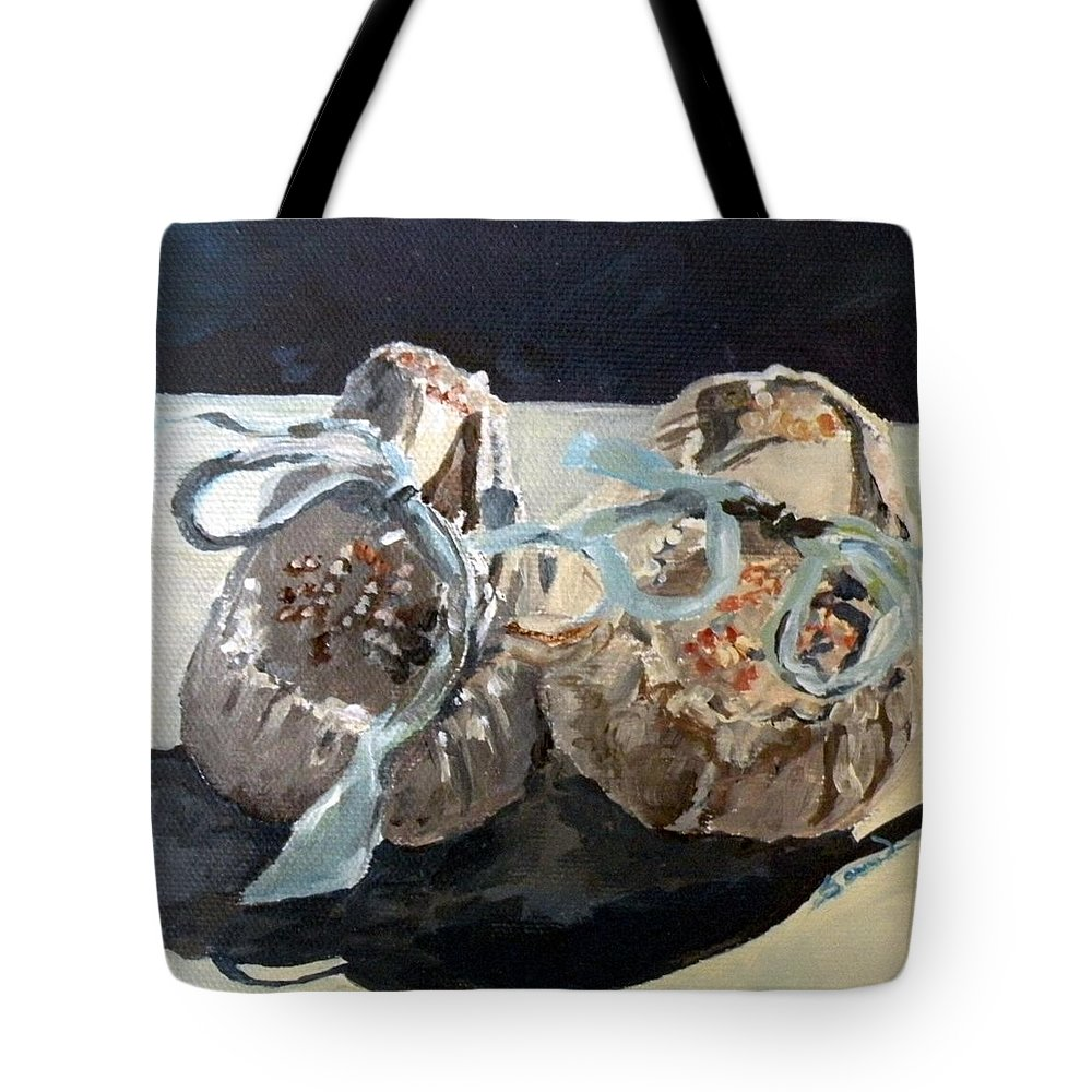 Baby Shoes Tote Bag featuring the painting Baby Moccasins by Saundra Lane Galloway