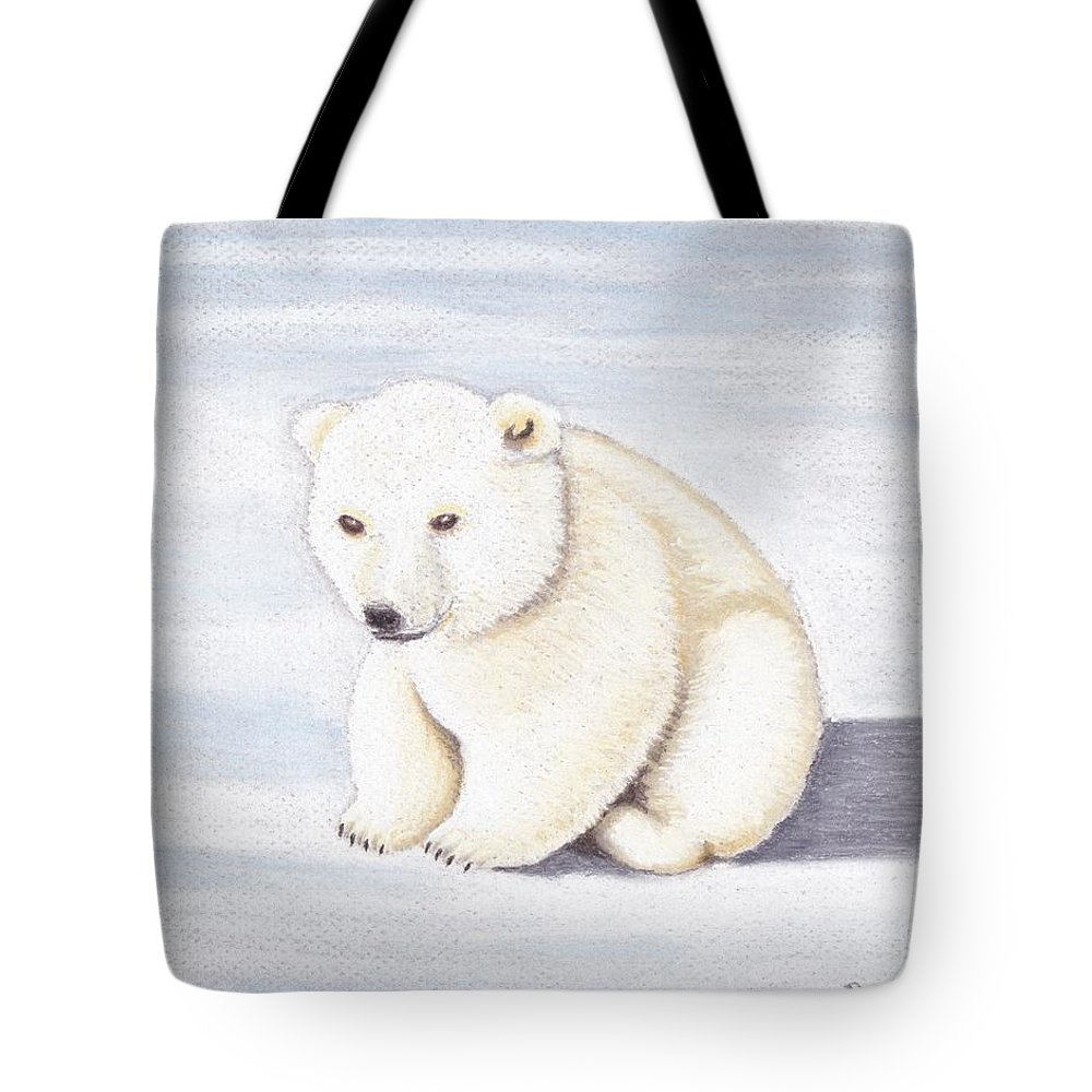 Baby Tote Bag featuring the pastel Baby Polar Bear by Brenda Bonfield