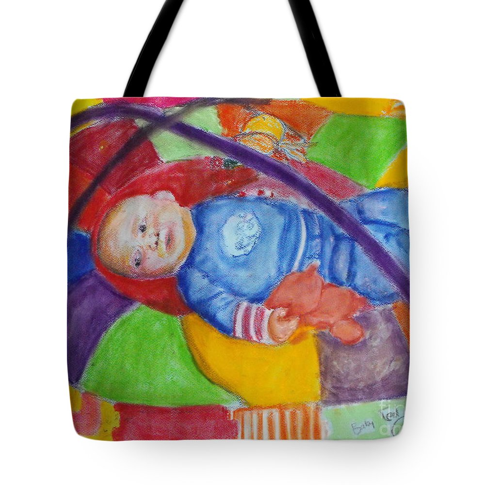 Baby Portrait Tote Bag featuring the mixed media Baby Ted In Motion by Caroline Cunningham