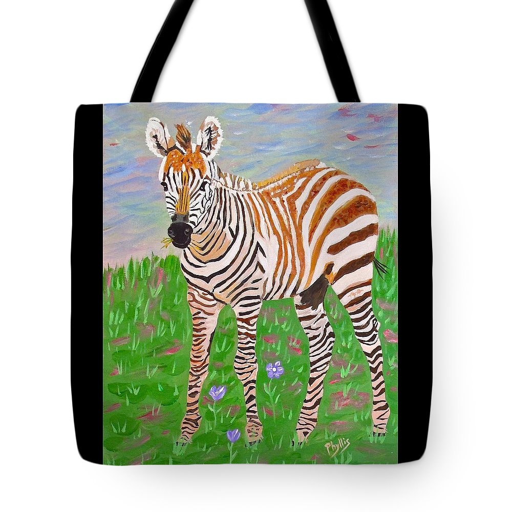 Brown Zebra Tote Bag featuring the painting Baby Zebra by Phyllis Kaltenbach