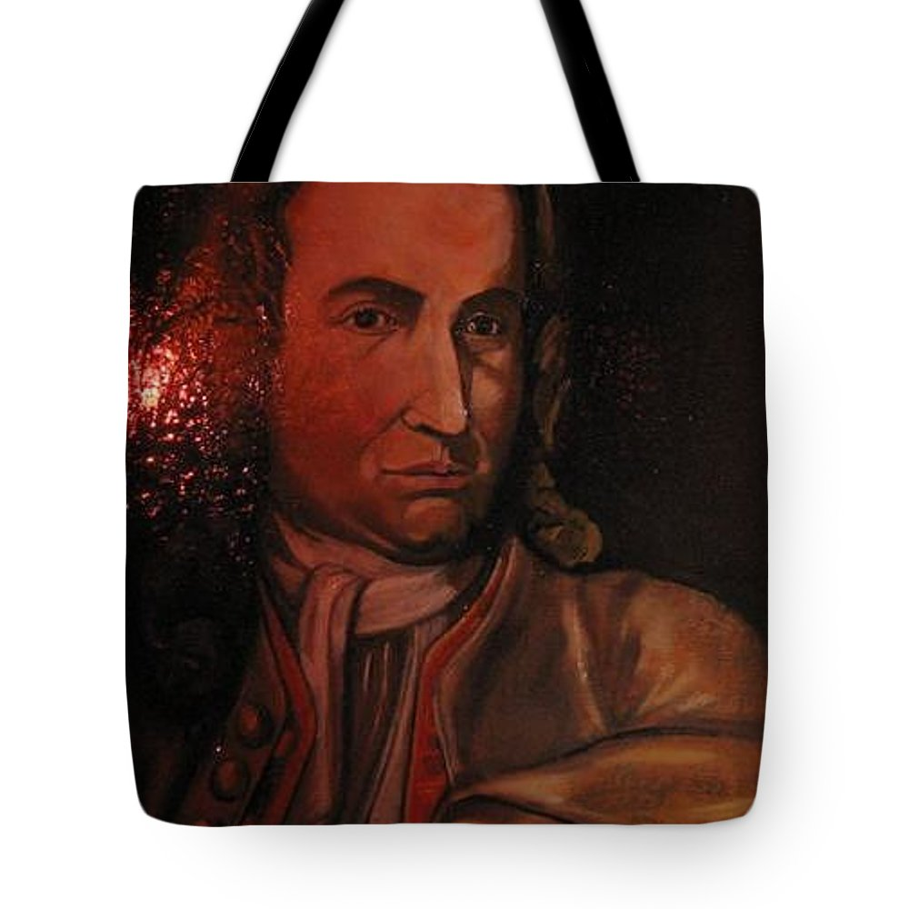 Tote Bag featuring the painting Bach Portrait After Heavy Varnish by Jude Darrien