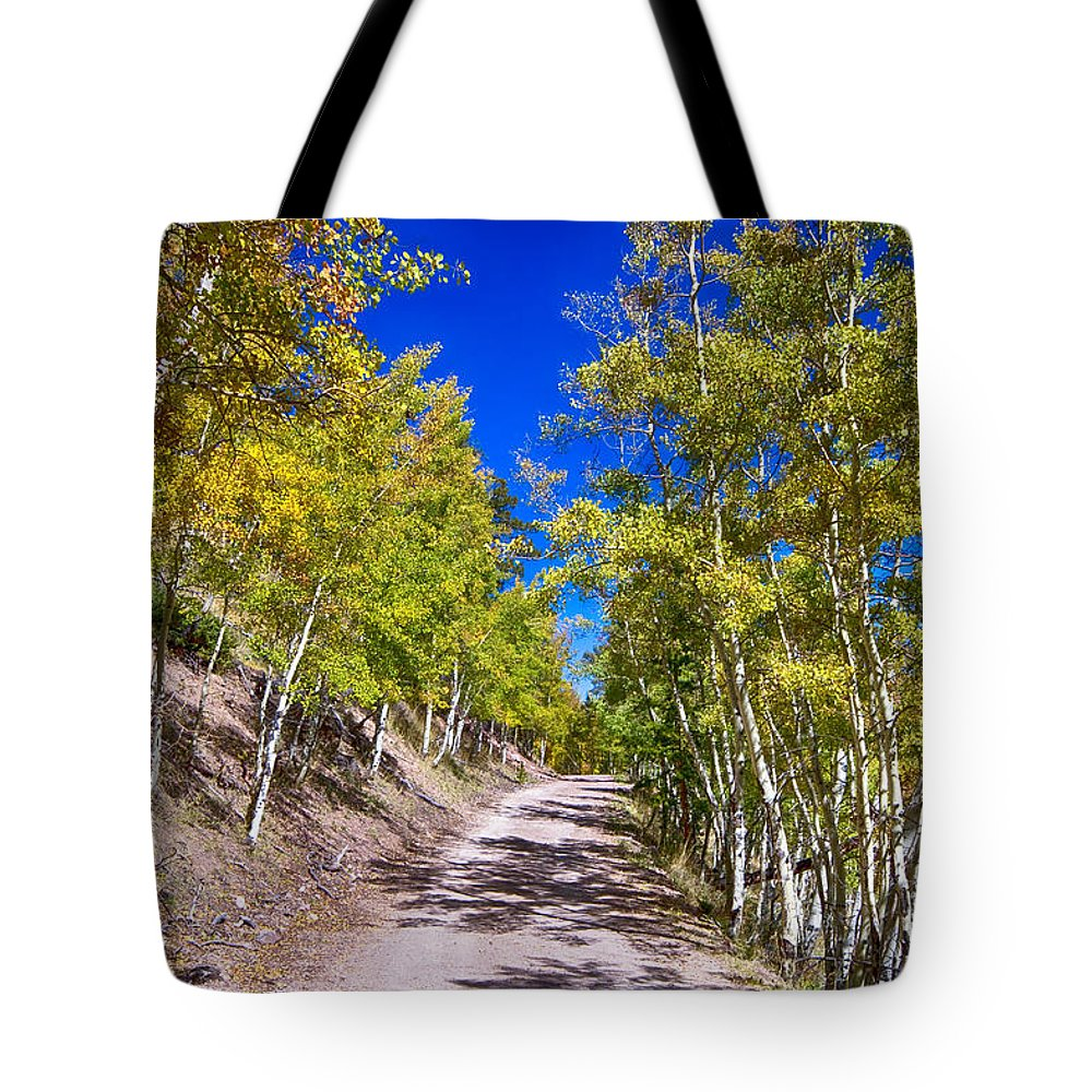 Autumn Tote Bag featuring the photograph Back Country Road Take Me Home Colorado by James BO Insogna