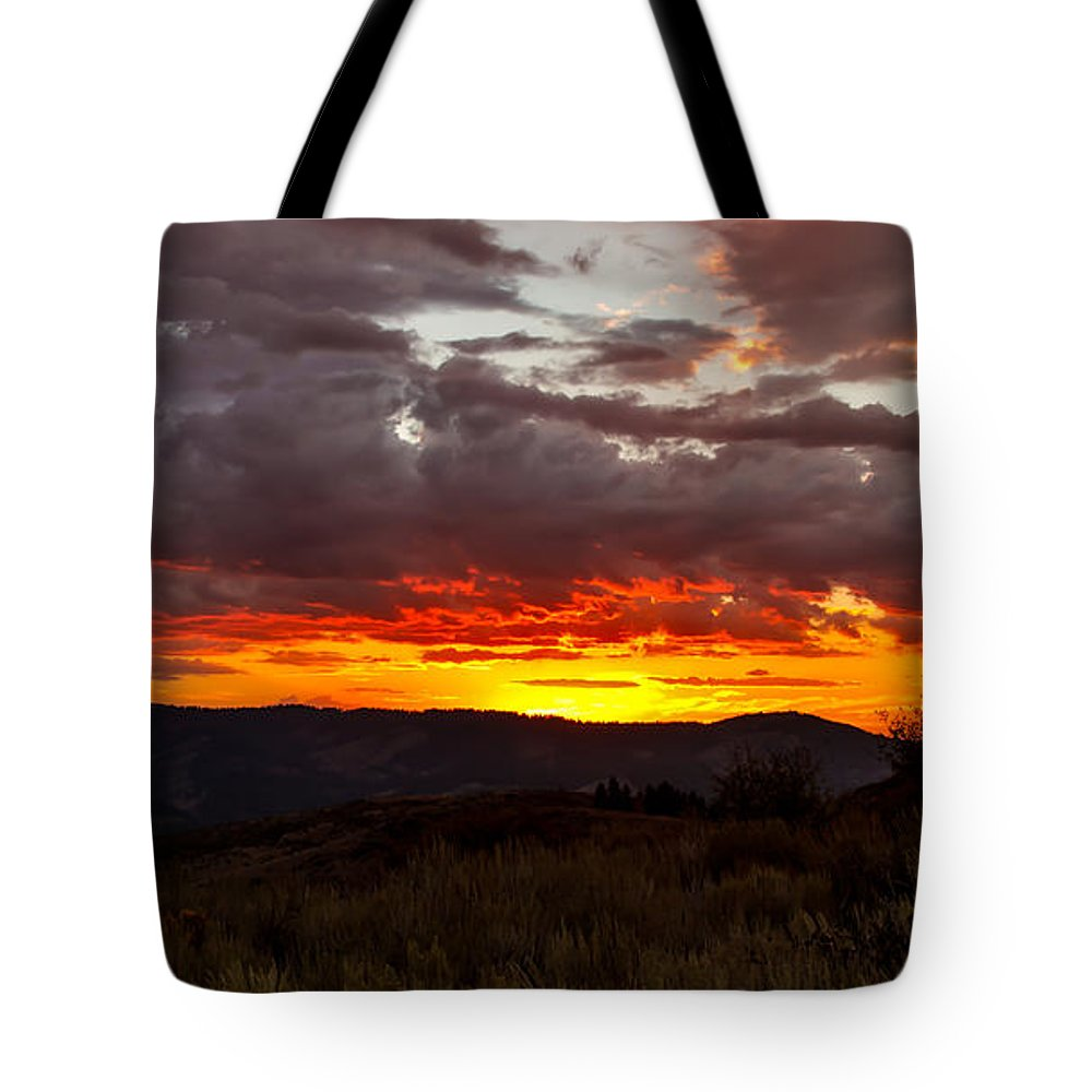 Sunset Tote Bag featuring the photograph Back Country Sunset by Robert Bales