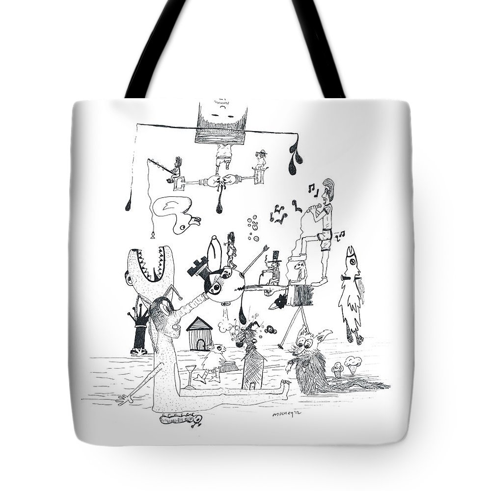 Back Rooms Of My Mind Door 301212 Tote Bag featuring the drawing Back Rooms Of My Mind Door 301212 by Michael Mooney