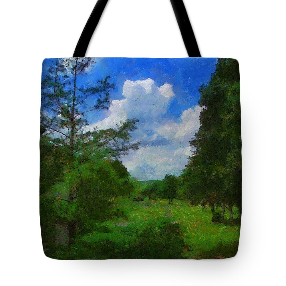 Back Yard Tote Bag featuring the painting Back Yard View by Jeffrey Kolker