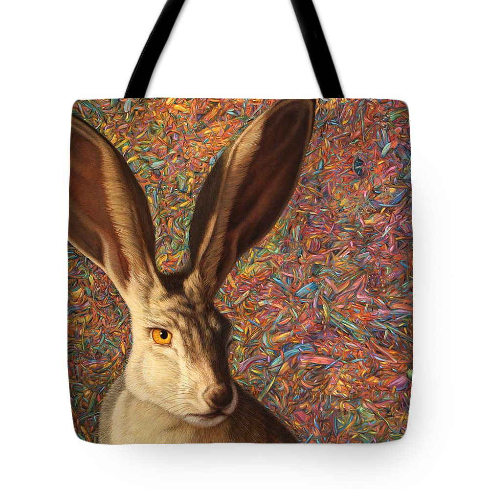 Rabbit Tote Bag featuring the painting Background Noise by James W Johnson