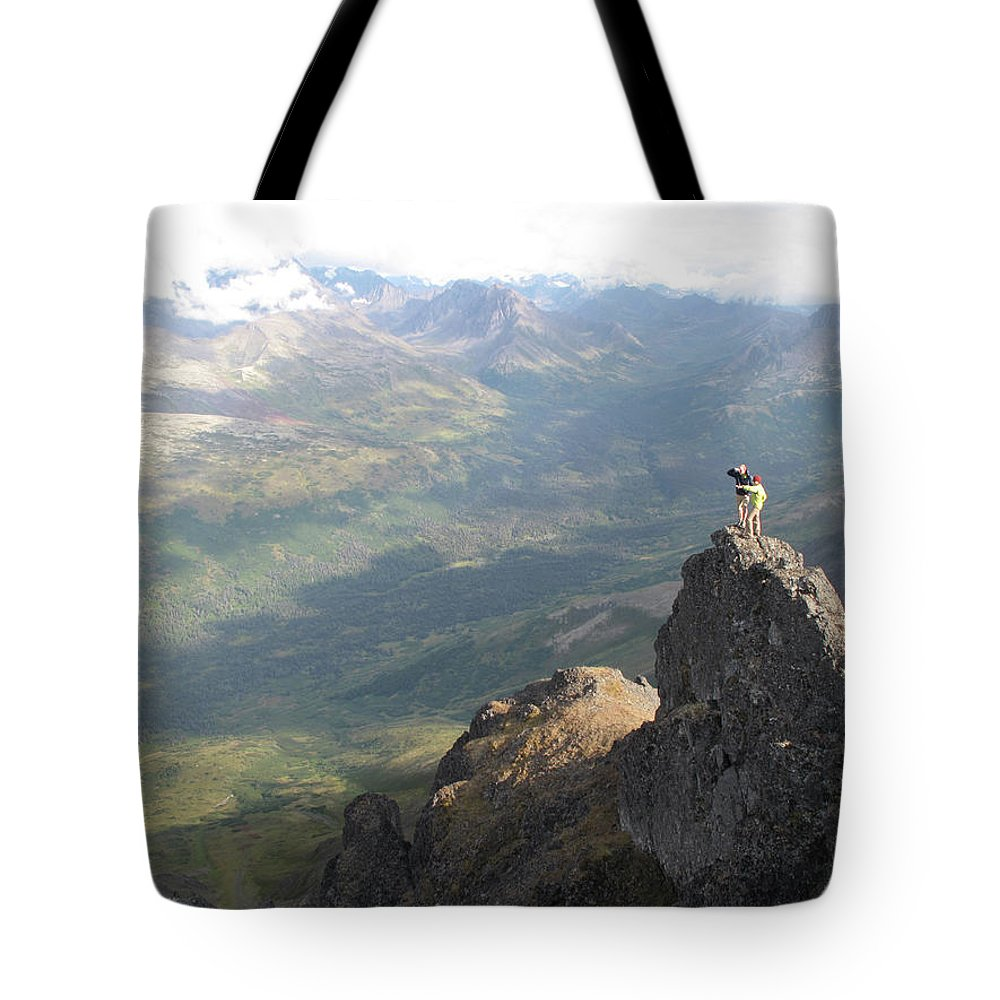 25-29 Years Tote Bag featuring the photograph Backpackers Hike In Chugach State Park by HagePhoto