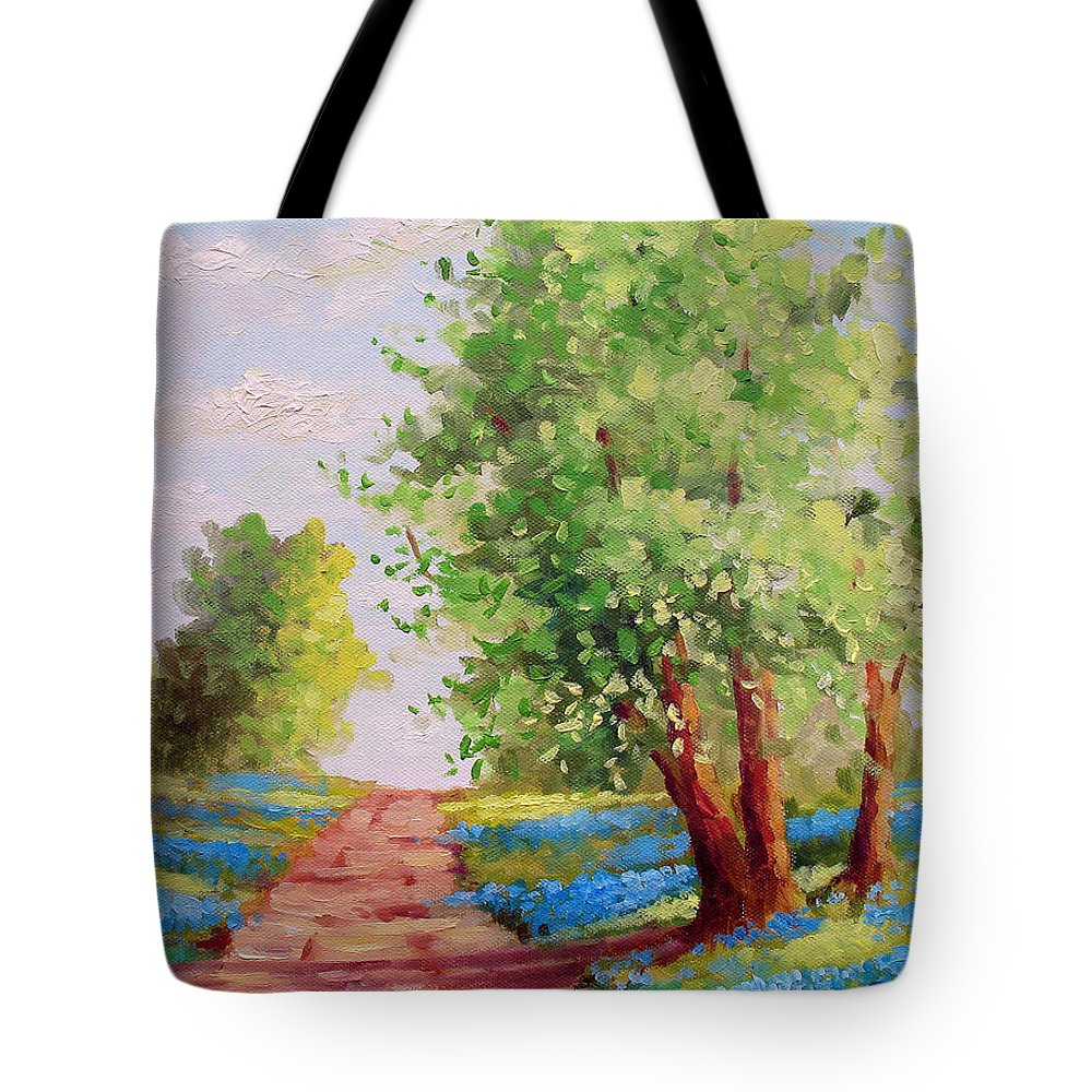 Bluebonnets Tote Bag featuring the painting Backroad Bluebonnets by David G Paul