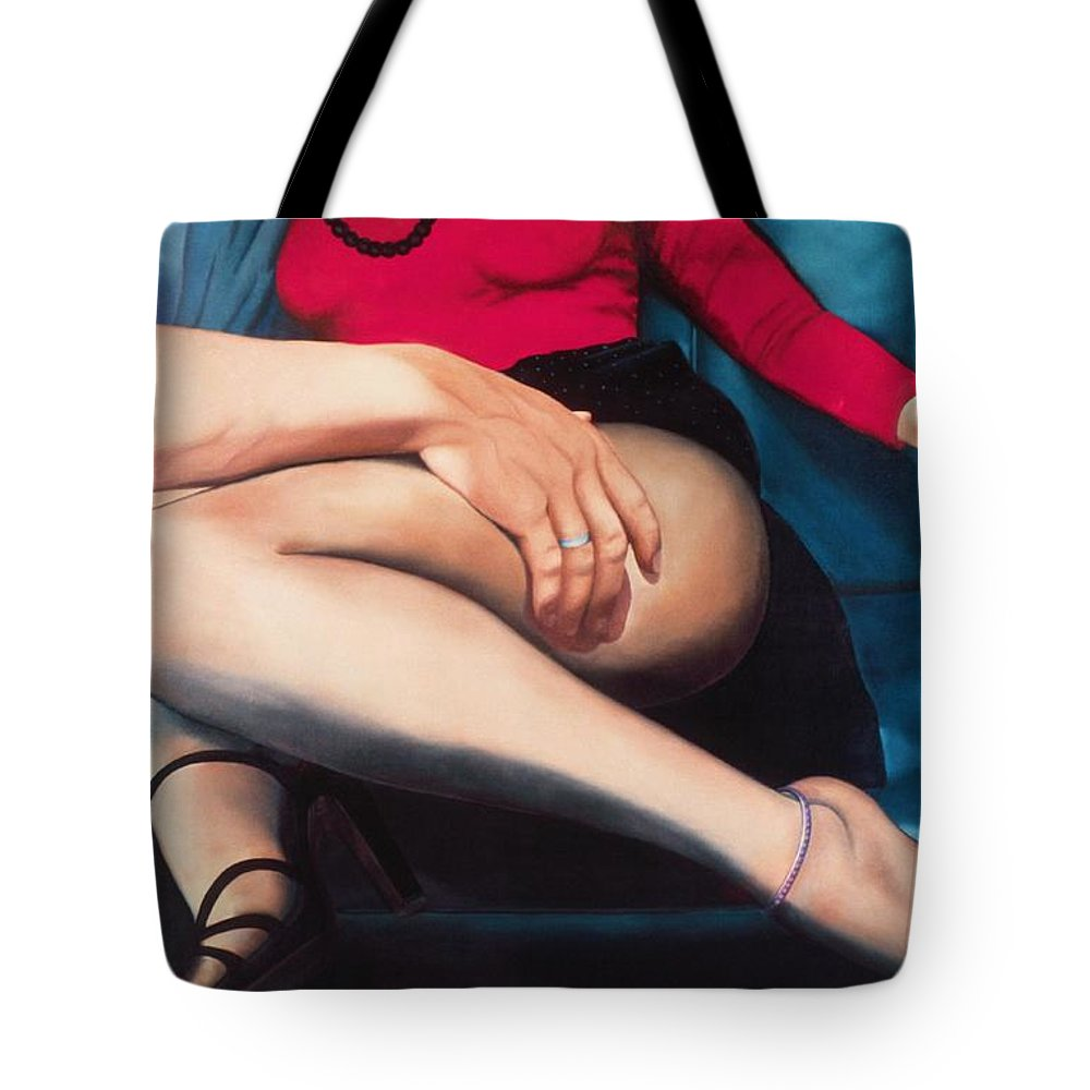 Sensual Tote Bag featuring the painting Backseat Number by Mary Ann Leitch