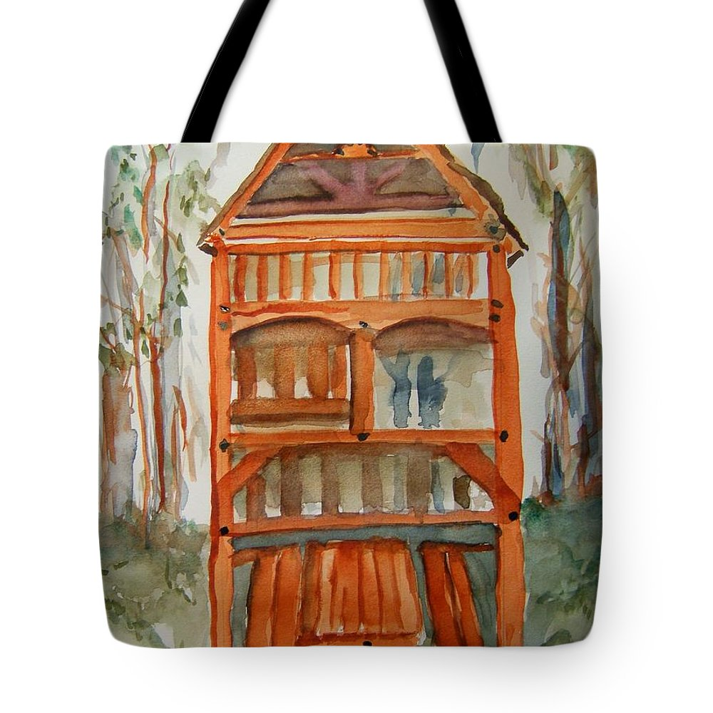 Playset Tote Bag featuring the painting Backyard Play Hut by Elaine Duras