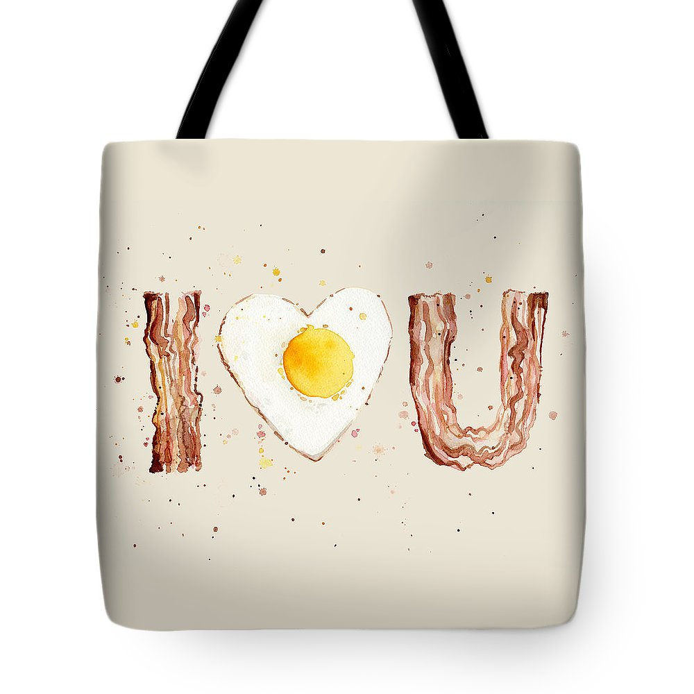 Breakfast Tote Bag featuring the painting Bacon And Egg I Heart You Watercolor by Olga Shvartsur