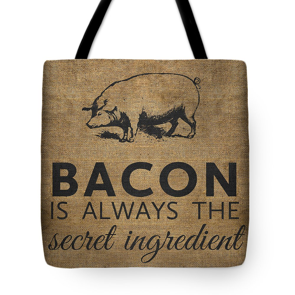 Bacon Tote Bag featuring the digital art Bacon is Always the Secret Ingredient by Nancy Ingersoll