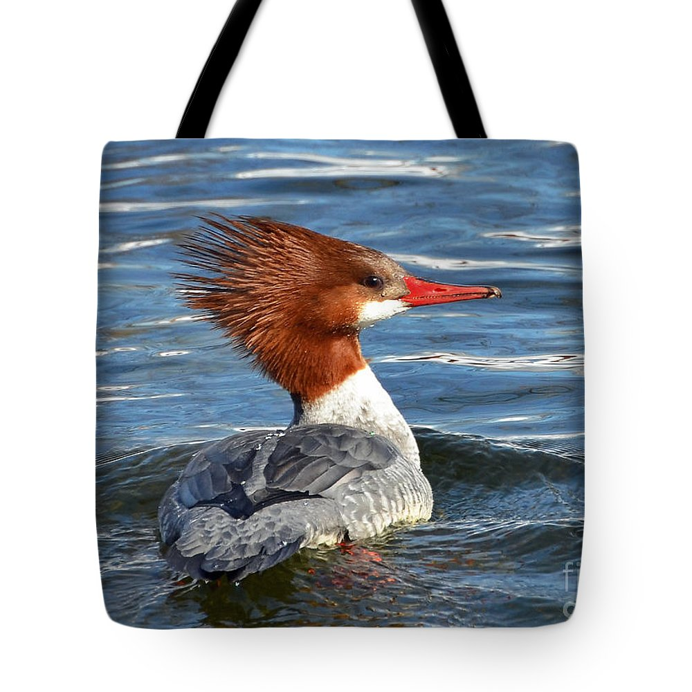 Duck Tote Bag featuring the photograph Bad Hair Day by Rodney Campbell