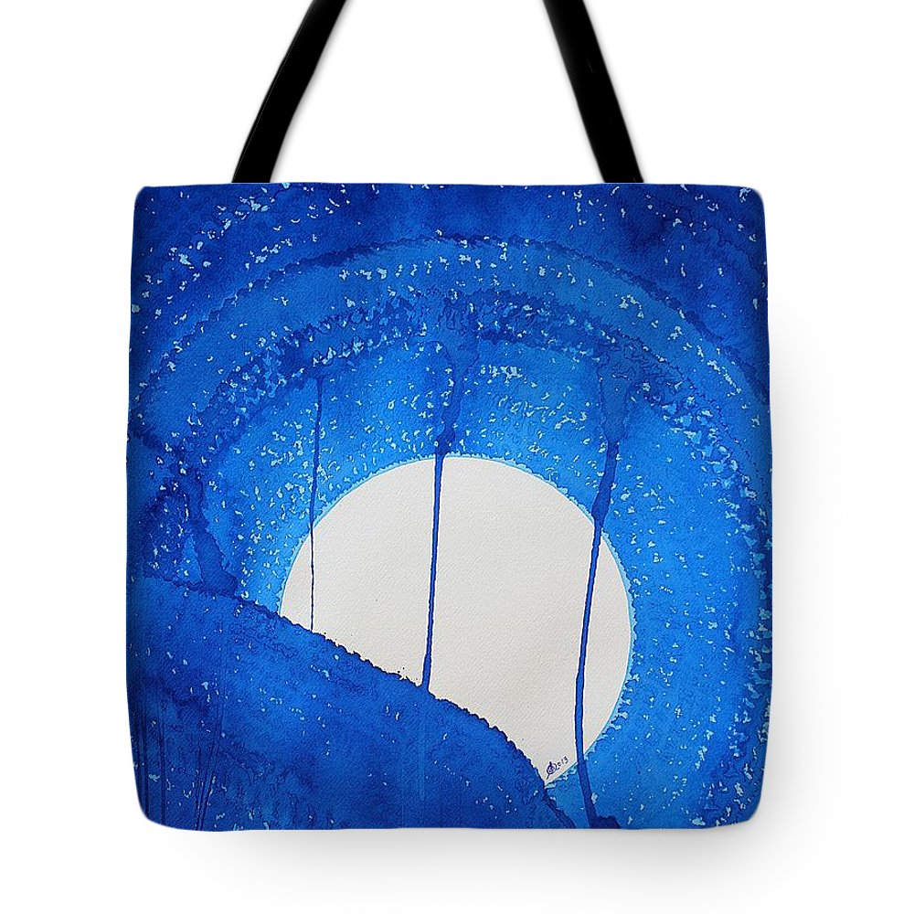 Moon Tote Bag featuring the painting Bad Moon Rising Original Painting by Sol Luckman