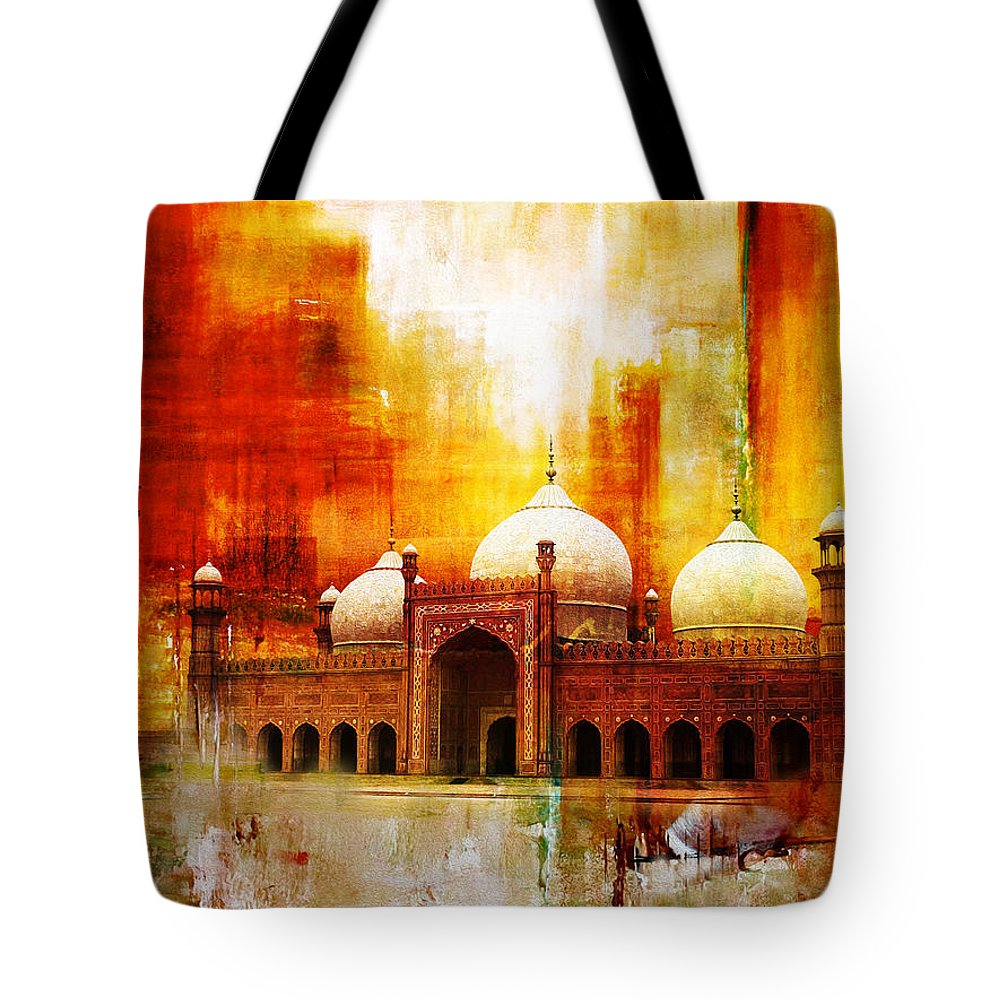 Pakistan Tote Bag featuring the painting Badshahi Mosque Or The Royal Mosque by Catf