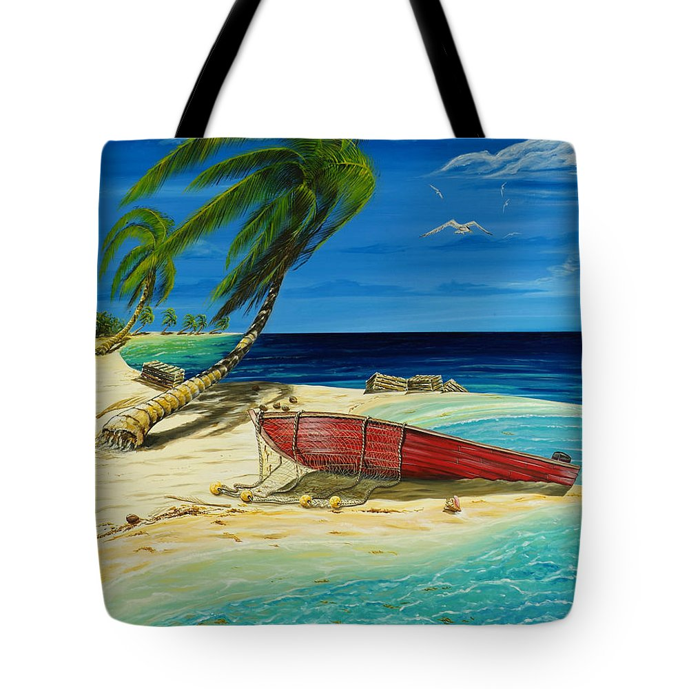 Bahama Tote Bag featuring the painting Bahama Beach by Steve Ozment