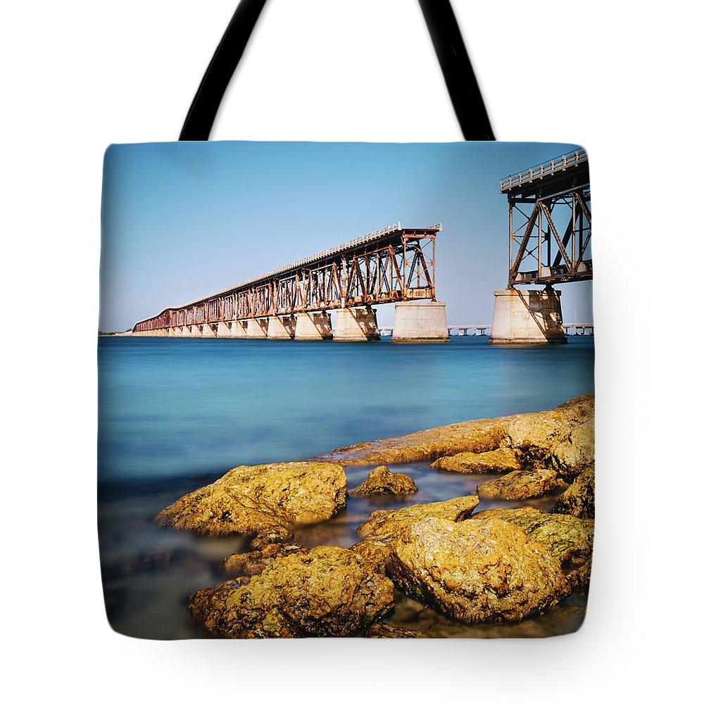 Seascape Tote Bag featuring the photograph Bahia Honda State Park Florida by Ferrantraite