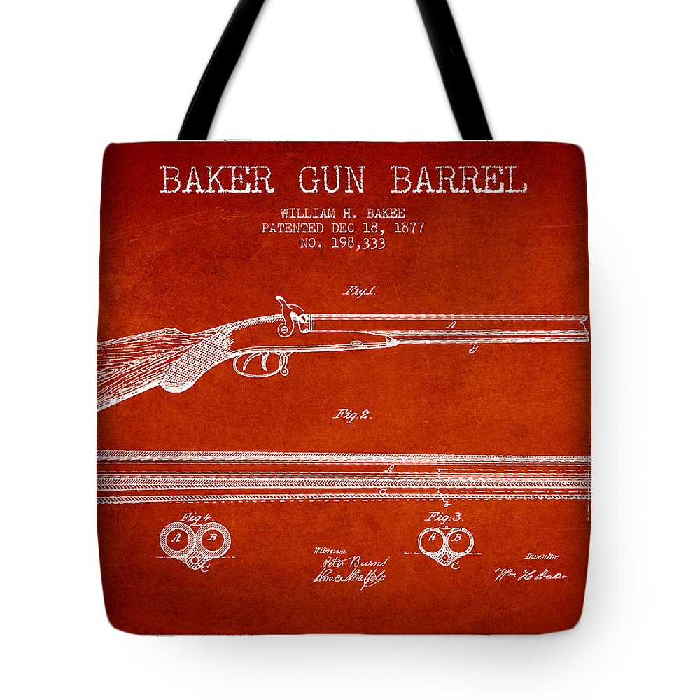Pistol Patent Tote Bag featuring the digital art Baker Gun Barrel Patent Drawing From 1877- Red by Aged Pixel