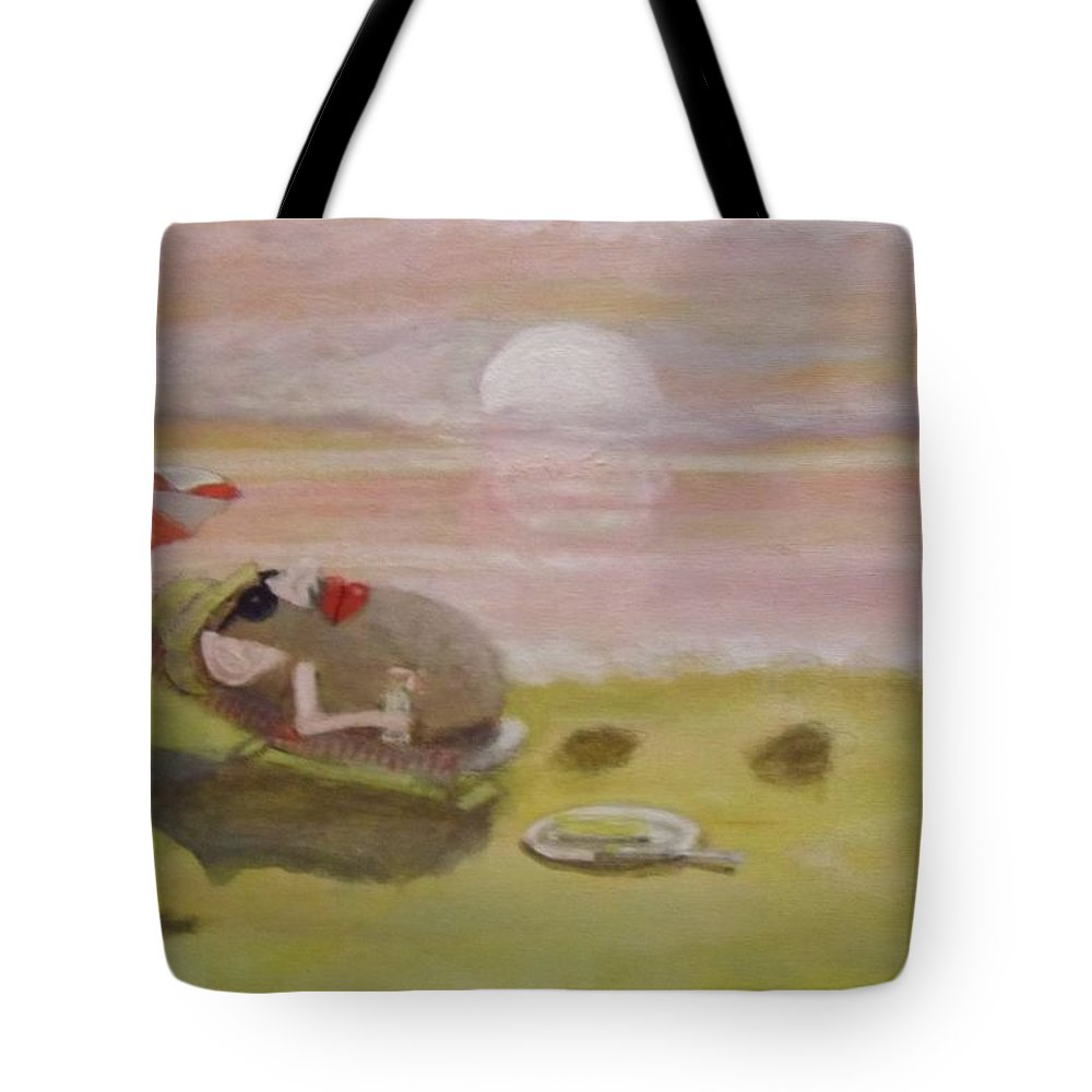 Land Scape Tote Bag featuring the painting Baking Mr.potato Head. by Larry Lamb