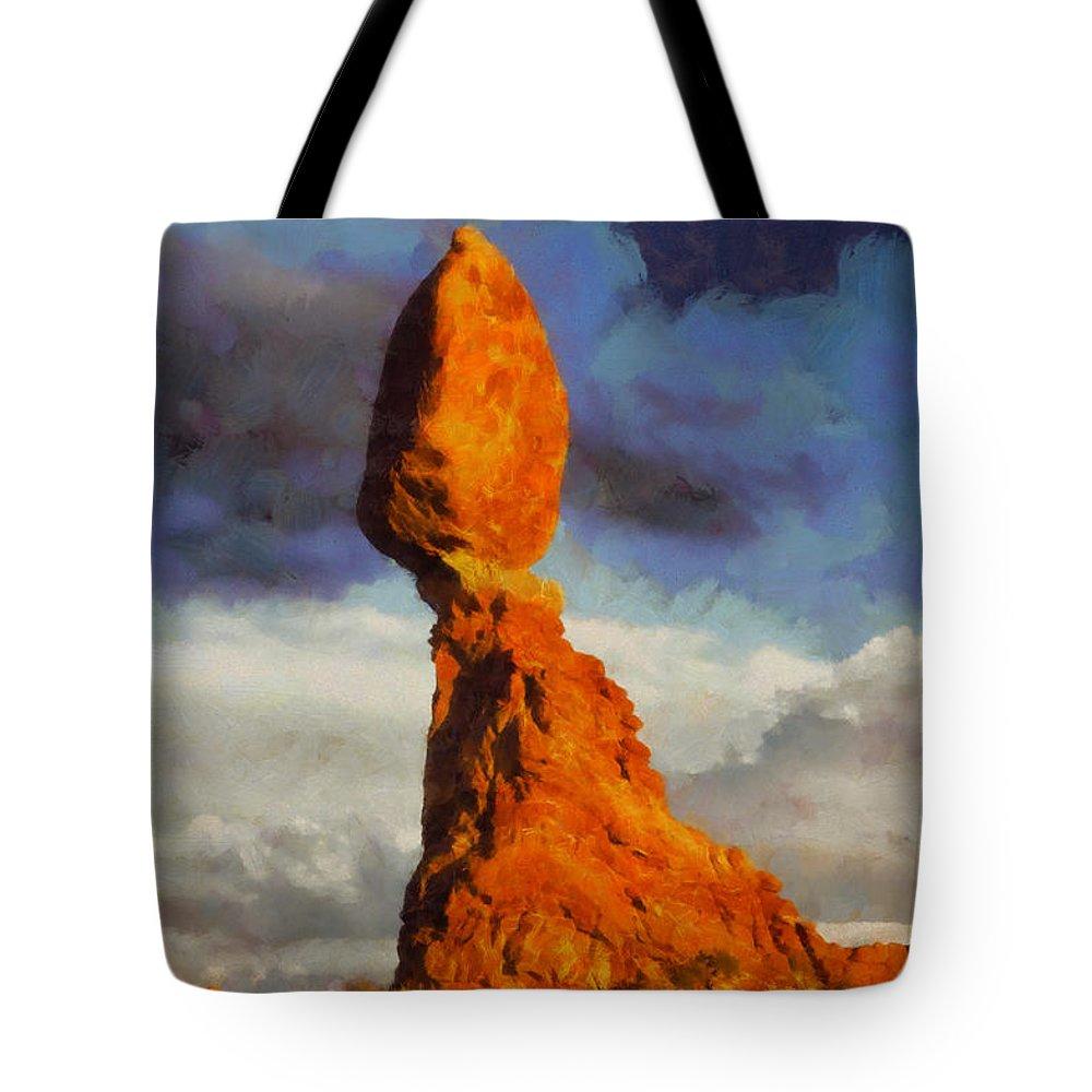 Utah Tote Bag featuring the digital art Balanced Rock At Sunset Digital Painting by Mark Kiver