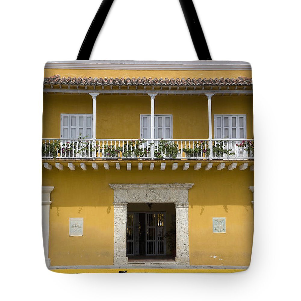 Columbia Tote Bag featuring the photograph Balconied House At Plaza De La Aduana by Jon Spaull