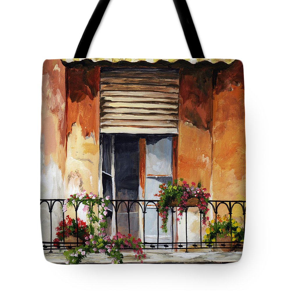 Balcony Tote Bag featuring the painting Balcony Of Ancona by Voros Edit