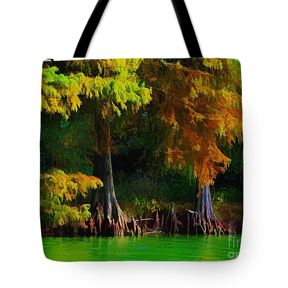 Cypress Tote Bag featuring the photograph Bald Cypress 3 - Digital Effect by Debbie Portwood