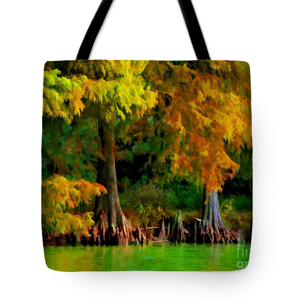 Cypress Tote Bag featuring the photograph Bald Cypress 4 - Digital Effect by Debbie Portwood