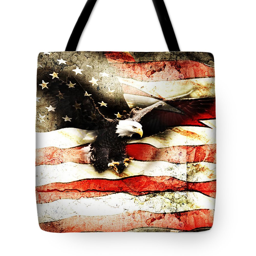 Memorial Day Tote Bag featuring the photograph Bald Eagle Bursting Thru Flag by Eleanor Abramson