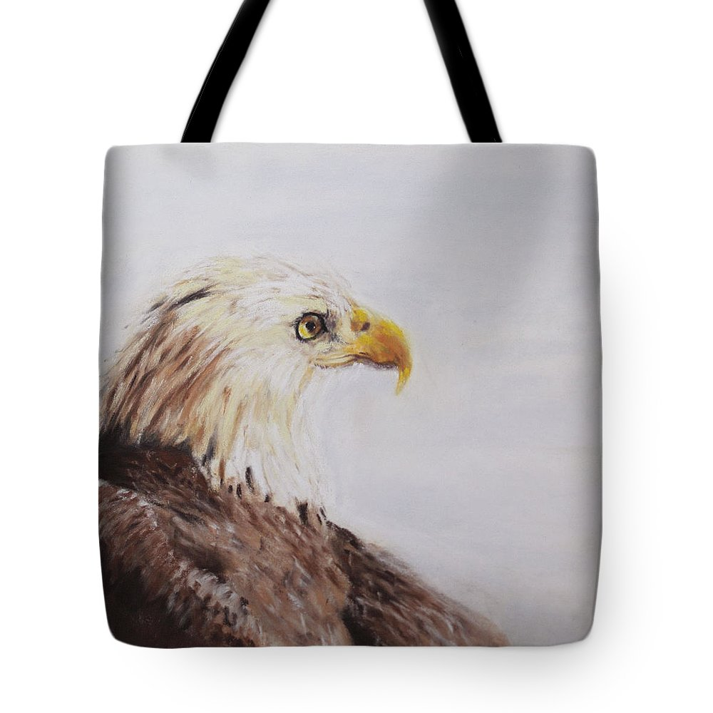 Bald Tote Bag featuring the painting Bald Eagle by Sandy Brooks