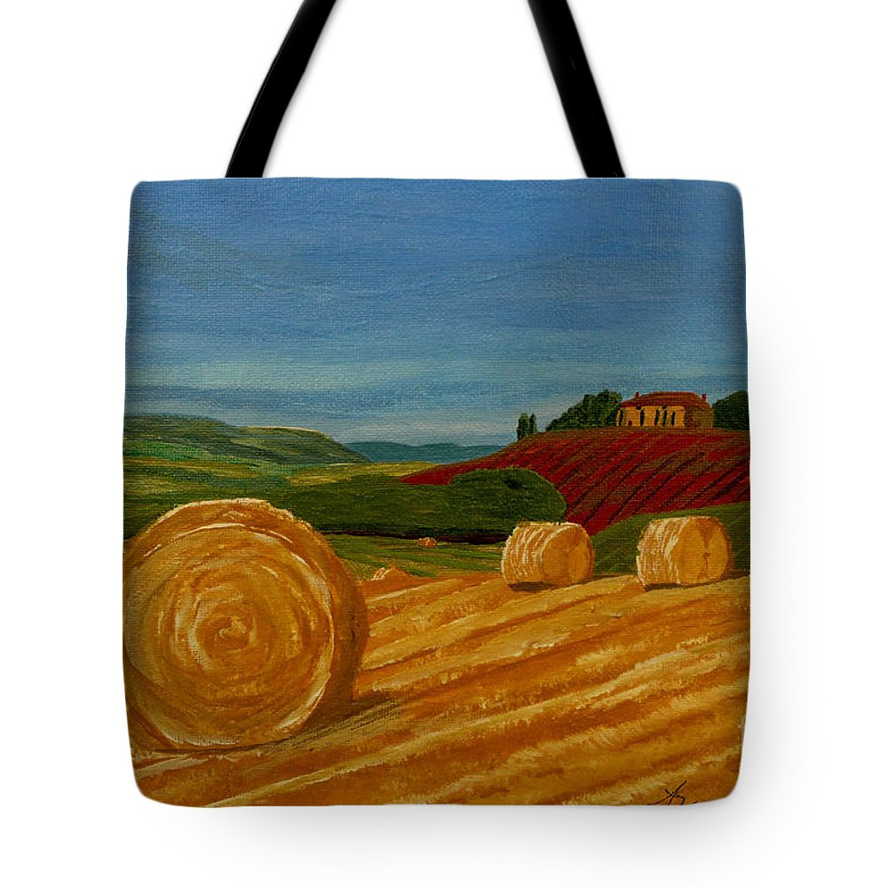 Hay Tote Bag featuring the painting Field Of Golden Hay by Anthony Dunphy