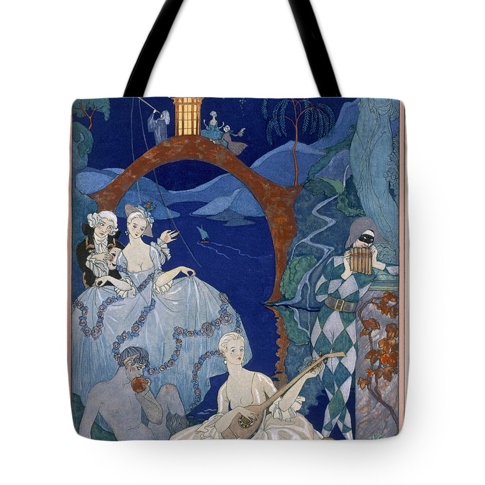 Bacchanal Tote Bag featuring the painting Ball Under The Blue Moon by Georges Barbier