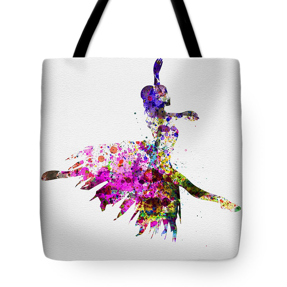 Ballet Tote Bag featuring the painting Ballerina On Stage Watercolor 4 by Naxart Studio