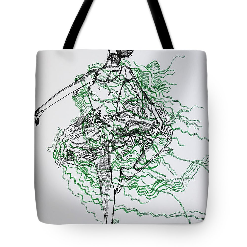 Jesus Tote Bag featuring the drawing Ballet by Gloria Ssali
