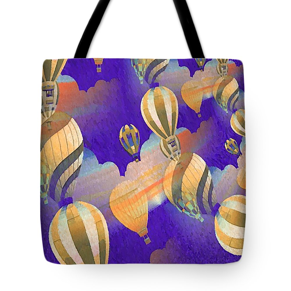 Balloon Tote Bag featuring the digital art Balloon Fantasy by John Madison