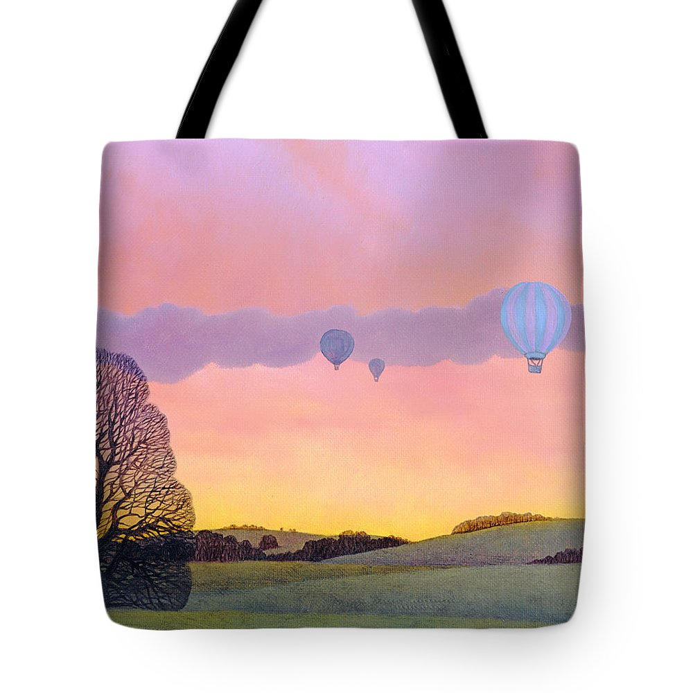 Hot Air Balloons; Evening; Dusk; Field; Rural; Landscape; Tree; Silhouette; Sunset; Racing; Serene; Tranquil; Freedom Tote Bag featuring the painting Balloon Race by Ann Brian
