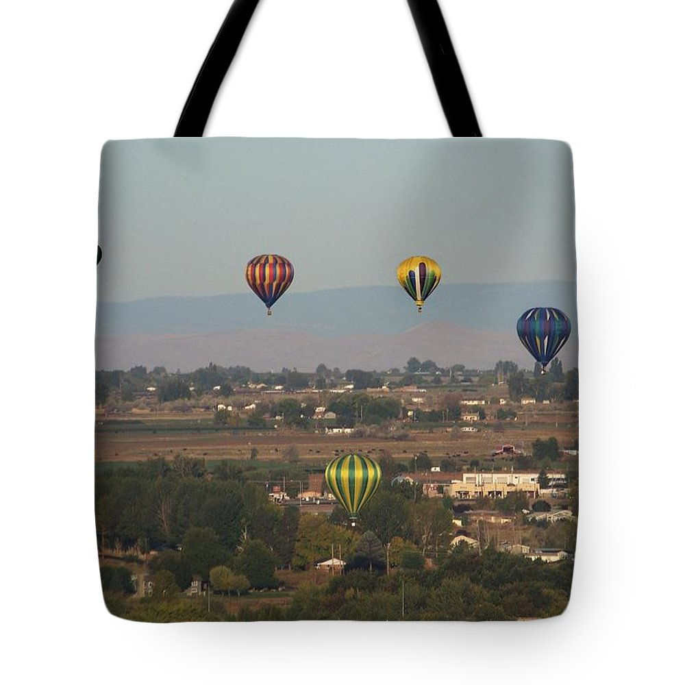 Balloons Tote Bag featuring the photograph Balloons Over The Valley by Charles Robinson
