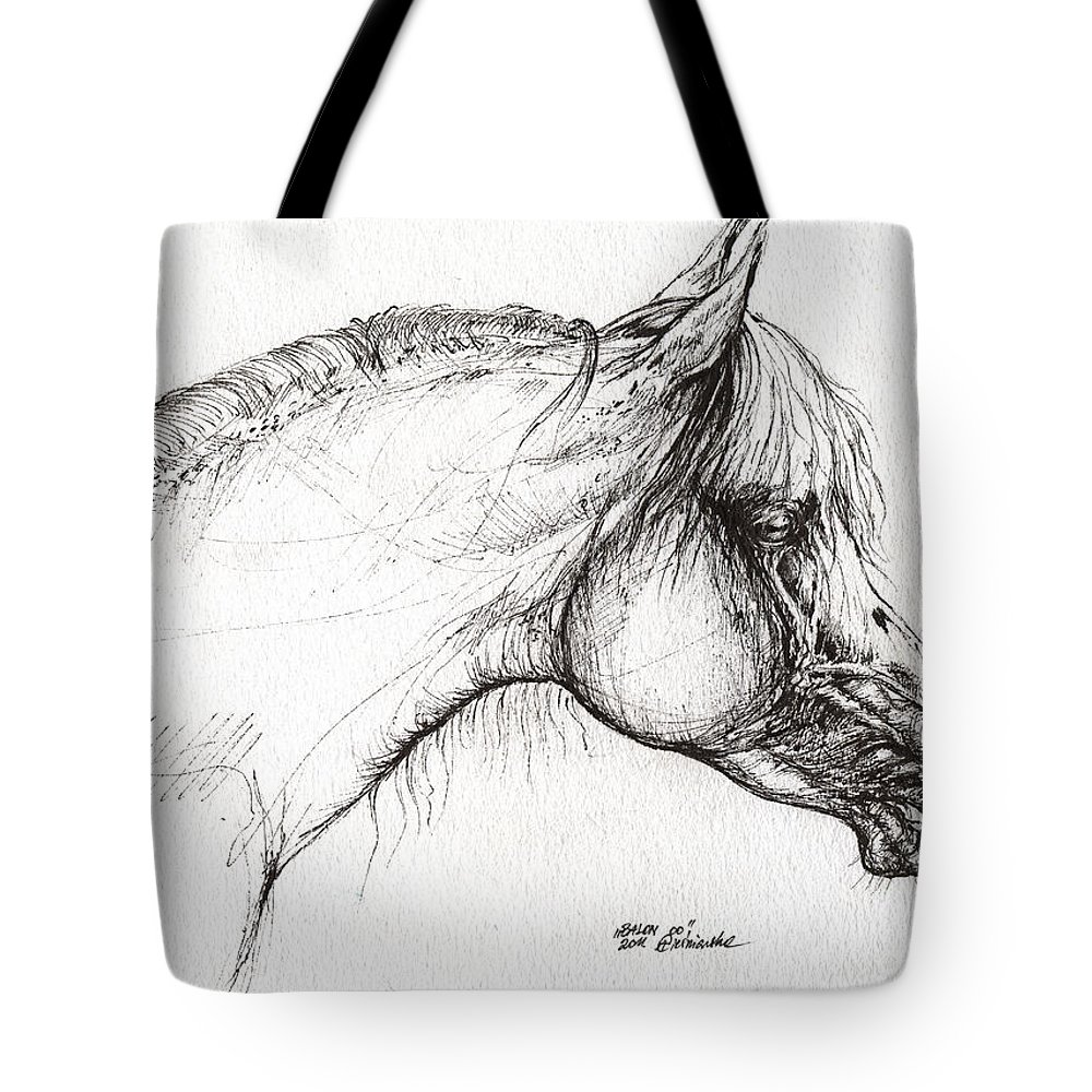 Horse Tote Bag featuring the drawing Balon Polish Arabian Horse Portrait 3 by Angel Ciesniarska