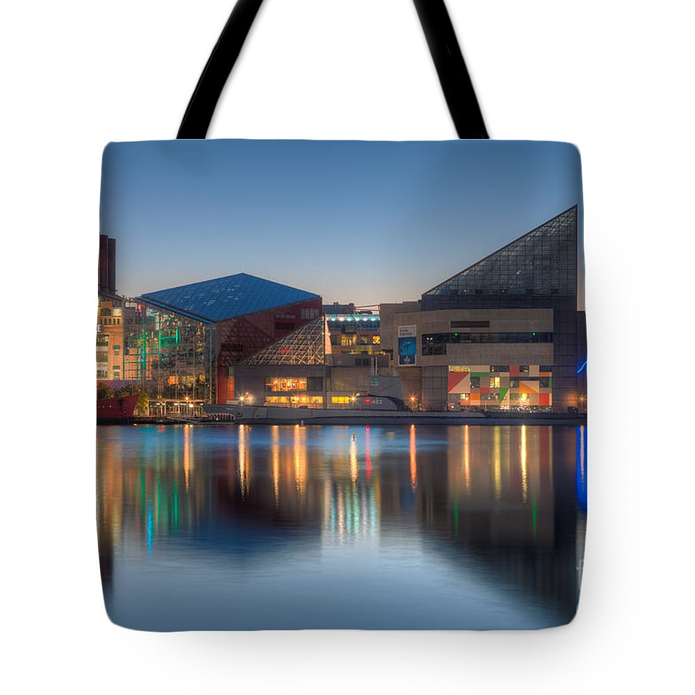 Clarence Holmes Tote Bag featuring the photograph Baltimore National Aquarium At Dawn I by Clarence Holmes