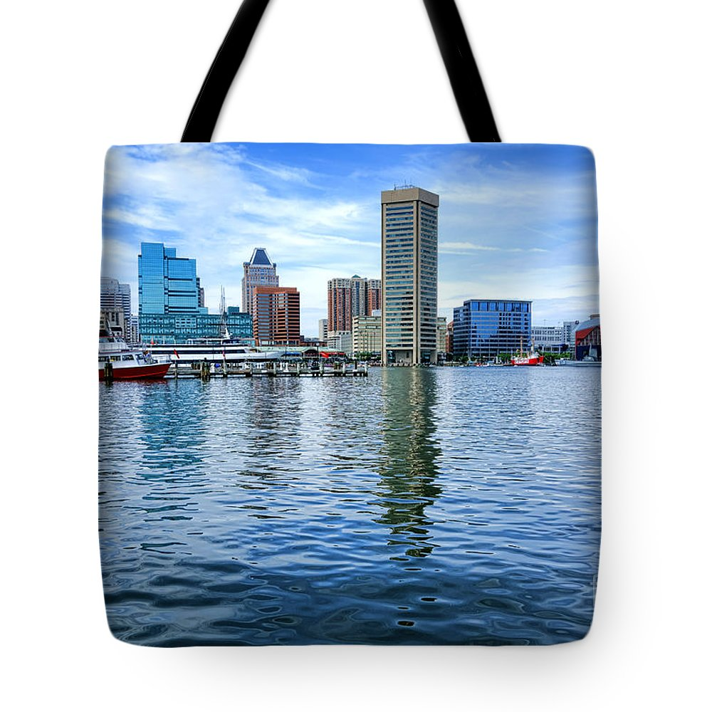 Baltimore Tote Bag featuring the photograph Baltimore On The Water by Olivier Le Queinec