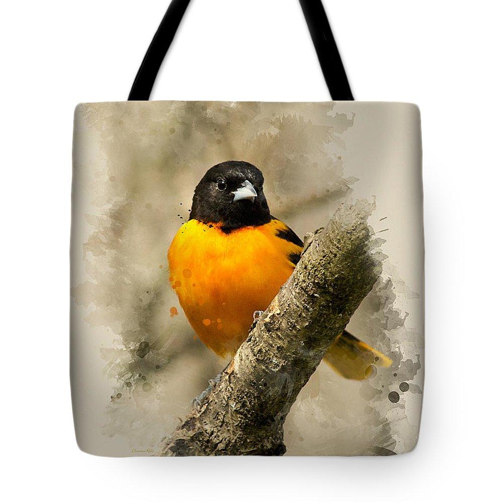 Baltimore Oriole Tote Bag featuring the mixed media Baltimore Oriole Watercolor Art by Christina Rollo
