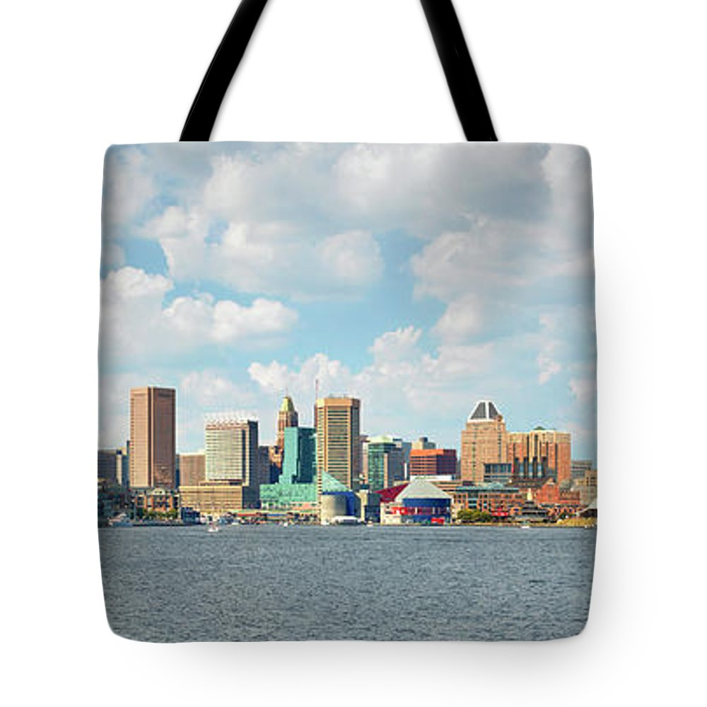Downtown District Tote Bag featuring the photograph Baltimore Skyline And Inner Harbor by Greg Pease