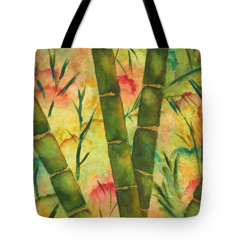 Fine Art Painting Tote Bag featuring the painting Bamboo Garden by Chrisann Ellis