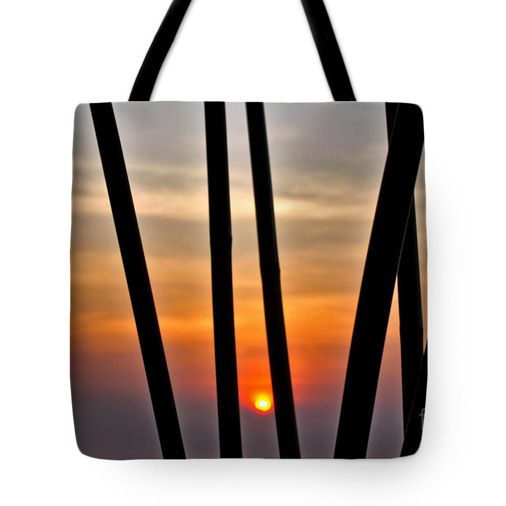 Photography Tote Bag featuring the photograph Bamboo Sunset by Kaye Menner