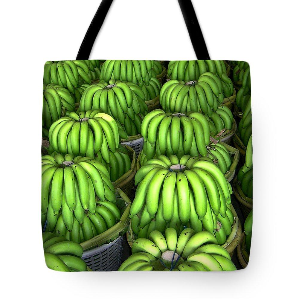 Banana Tote Bag featuring the photograph Banana Bunch Gathering by Douglas Barnett