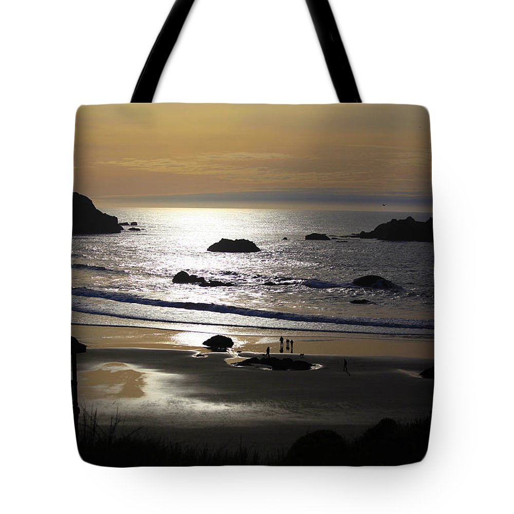 Bandon Tote Bag featuring the photograph Bandon Beach by Sally Bauer