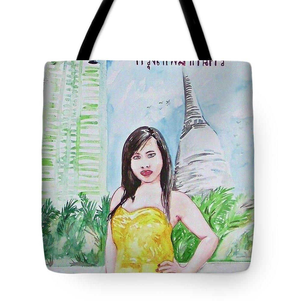 Bangkok Thailand Woman Cityscape Travel Asia Tote Bag featuring the painting Bangkok 2009 by Ken Higgins