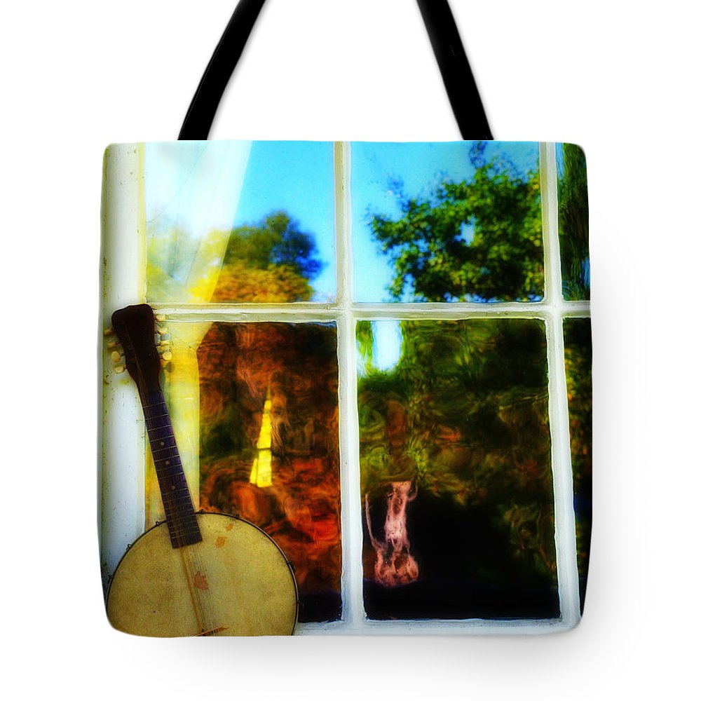 Banjo Tote Bag featuring the photograph Banjo Mandolin In The Window by Bill Cannon