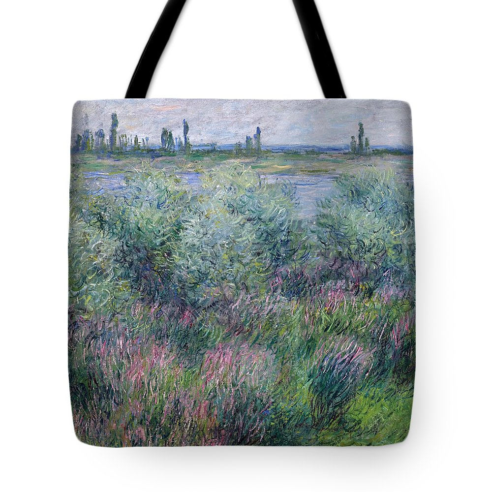 Claude Monet Tote Bag featuring the painting Banks Of The Seine At Vetheuil by Claude Monet