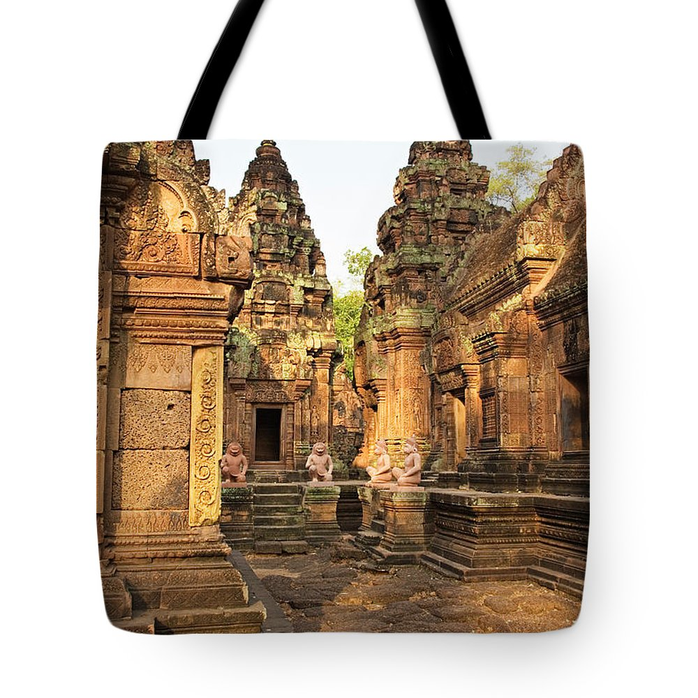 Religious Tote Bag featuring the photograph Banteay Srei, Cambodia by David Davis